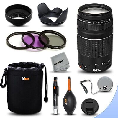 Canon EF 75-300mm f/4-5.6 III Telephoto Lens + Kit for Canon EOS 700D 650D 600D