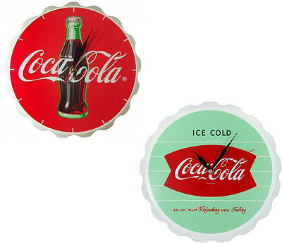 Coca Cola / Coke Bottle Crown Shaped Wooden Wall Clock - New & Official In Box