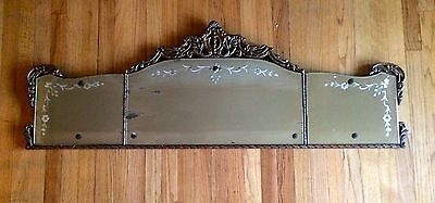 Antique 3 Panel Buffet Mirror Etched Flower Ornate Carved Wood Frame