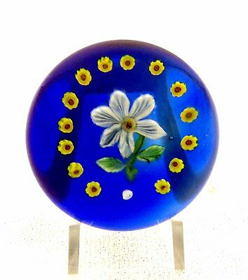 LOUIS KAIN MINIATURE WHITE & BLUE CLEMATIS, TRANSLUCENT BLUE GROUND PAPERWEIGHT