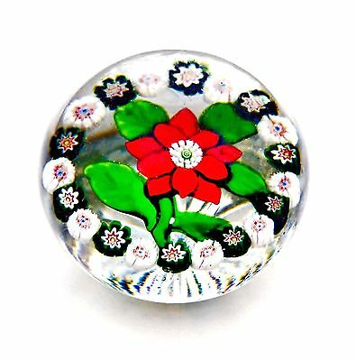 ANTIQUE BACCARAT RED DOUBLE CLEMATIS & GARLAND MINIATURE PAPERWEIGHT