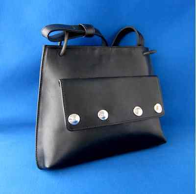 Vintage Unworn Robert Lee Morris Black Leather Handbag Made Italy Silver Hardwar