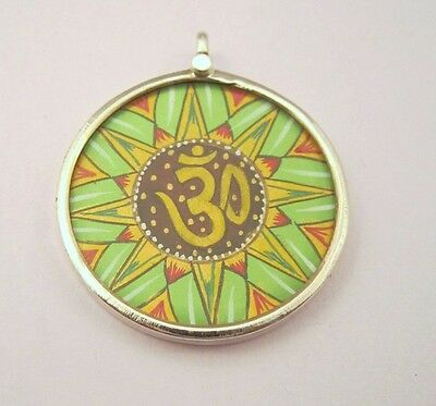 Om Pendant Hindu Religious Handmade Painting 925 Sterling Silver #3372