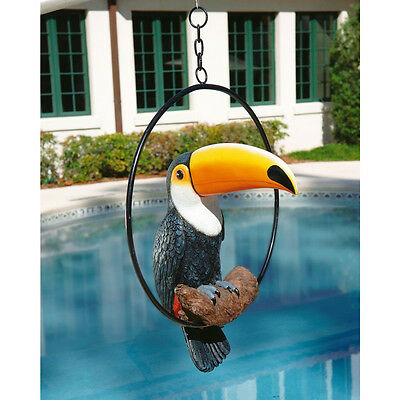 Colorful Tropical Paradise Toucan on Metal Hanging Oval Perch Bird Sculpture