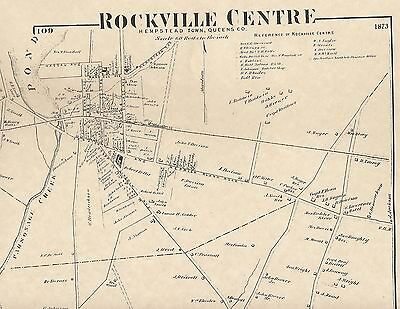 Rockville Centre Oceanside  NY 1873 Map with Homeowners Shown