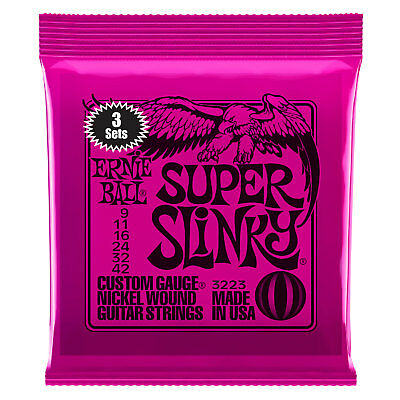 Ernie Ball 3223 3 Pack Electric Guitar Strings Super Slinky 9-42 - New