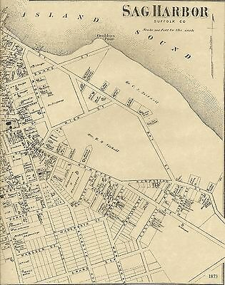 Sag Harbor NY 1873 Map with Homeowners Names Shown