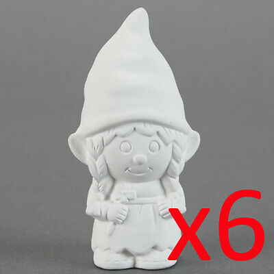 Ceramic Bisque Kids Party Plaster Painting Figurine- Girl Gnome x 6