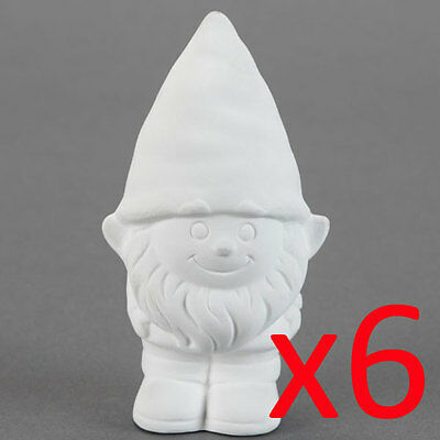 Ceramic Bisque Kids Party Plaster Painting Figurine - Boy Gnome x 6