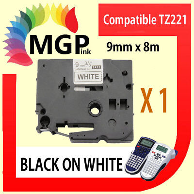 1  Brother Compatible TZ221 P-Touch Tape 9mm 3/8″  Black on WHITE Laminated