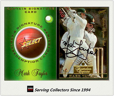 Ultra Rare-1997/98  Select Cricket Signature Redemption Card Mark Taylor-011/100