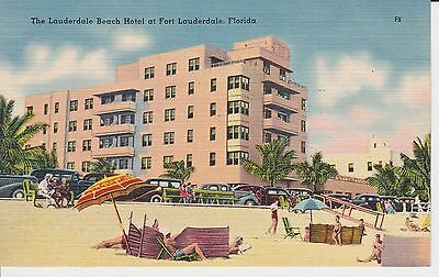 "Fort Lauderdale FL ""The Lauderdale Beach Hotel""  Linen  Postcard  Florida"