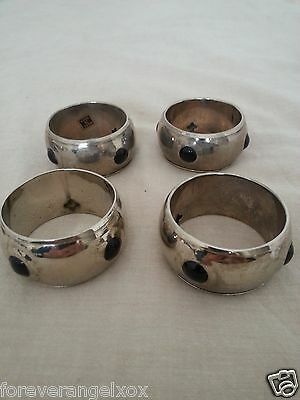 NAPKIN RINGS HOLDERS Silver Tone Metal With Black Circular Inserts