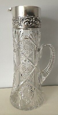 GORGEOUS DOMINICK & HAFF STERLING AMERICAN BRILLIANT CUT GLASS WATER PITCHER