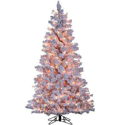 New 4 ft Artificial White Flocked Christmas Tree Pre-lit with 200 Clear Lights