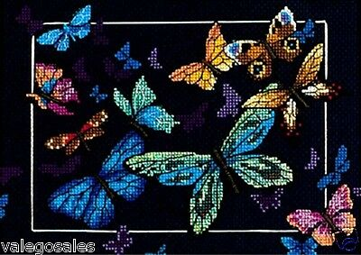 """Dimensions Gold Counted Cross Stitch kit 7"""" x 5"""" ~ EXOTIC BUTTERFLIES 06846 Sale"""