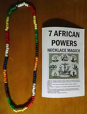 """7 AFRICAN POWERS necklace beads 7 color santeria OVER 30"""" INCHES + FREE GIFT !!!"""