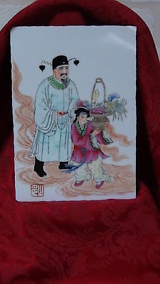 "Antique 19C Chinese Family Rose Porcelain Painted Plaque  ""man And Girl""signed"