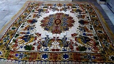 Antique 19C Arabic Silk Tapestry,Table Cloth,Wall Hanging With Hunting Scene
