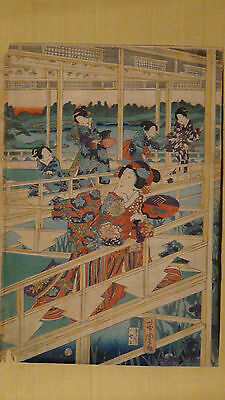 Antique Middle 19C Japanese Original Utagawa Yoshitora Woodblock On Paper,Sealed