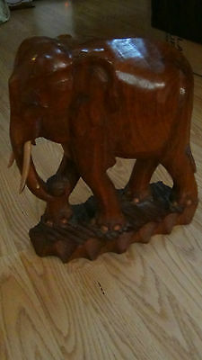 "Antique Chinese Teak Wood Hand Carved Elephant Statue 14.6""h"
