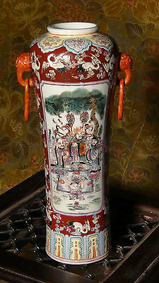 Antique Early 20C Chinese Porcelain Sleeve Style Vase With Polychrome Decoration