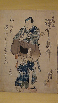 Antique Early 19C Japanese Original Utagawa Kunisada Woodblock On Paper,Sealed