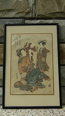 Antique Mid 19C Japanese Original  Woodblock On Paper, Signed