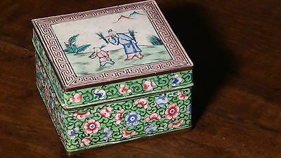 Antique 19C Chinese Enameled Handpainted Box Landscaping Scene And Floral Design