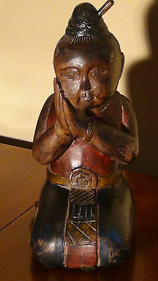 "Antique Chinese Mahogany Wood Hand Carved Painted Doll""Kneeling Sleeping Boy"""