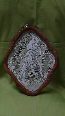Vintage Asian Lace Decorated And Framed  Perrots Portrate  Nicely Framed