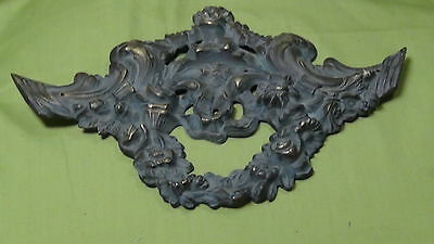 ANTIQUE 19 c. FRANCE  ORNAMENTAL  BRONZE FURNITURE  HEADER ORNAMENT