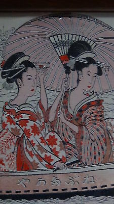 """Antique 19C Japanese Rare Embroidery On The Silk""""two Women On The Boat"""""""