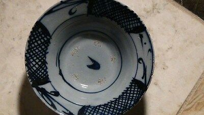 Antique Chinese Pottery Glazed Blue And White Kanghi Period Bowl