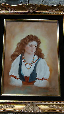 Antique 19C Porcelain Hand Painted Young Girl Plaque Signed Period Gilded Frame.
