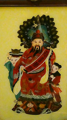 """Antique 19 C Chinese Reverse Painting""""immortal With Two Boys"""""""