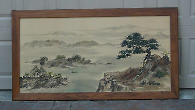 "Chinese Large  Watercolor Painting On Silk Signed ""kim'66""landscape Scene,framed"