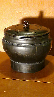 Antique Chinese Qing Rare Wood Black Lacquered Ginger Jar W/ Lid& Foo-Dog Finial