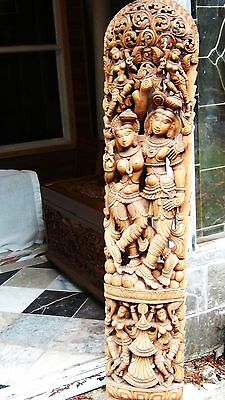 "Antique18C- 19C South Asia Large Scale Wood Temple Pierced Carving  61""h"