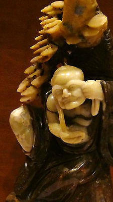 Antique Chinese Jade Carved Statue Depicts Chinese Legend Of Lady White Snake15""
