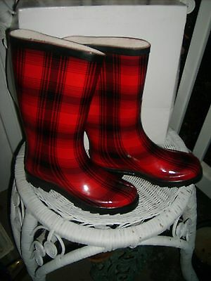 NIB Aqua Stop Rain Boot Wellies Sz 6 M Rubber Waterproof Red Black Plaid New $50
