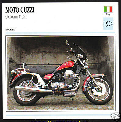 1994 Moto Guzzi California 1100i (1064cc) Italy Motorcycle Photo Spec Info Card