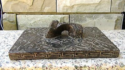 Antique Qing Dynasty Chinese Stone Hand Carved Press With Handles And Symbols