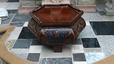 Antique 19C Japanese Handpainted Lacquered Large Octogonal  Vase Base ,stand