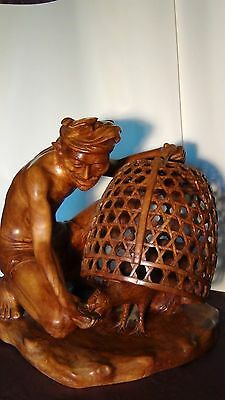 Antique Chinese Teak Wood Carved Statue Of Man Feeding A Rooster In A Basket