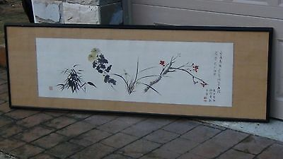 CHINESE 20c HORIZONTAL WATERCOLOR SCROLL OF BLOOMING FLOWER BRANCHES,ARTIST SEAL