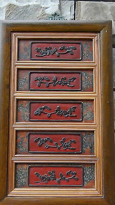 Antique 19C Chinese Set Of 5 Framed Rosewood Plaques  Handcarved Wall Panel