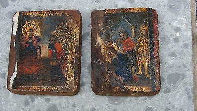 Pair Antique 17C Russian Wood Rare Icons With Tempera Painting