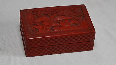 Antique 18C Qianlong Dynasty Chinese Cinnabar Lacquer Box And Cover