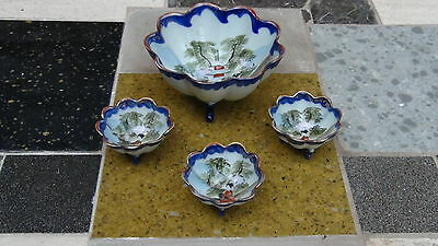 Set Of 4 Antique Japanese Footed Serving Bowl &3 Individual Bowls, Marked
